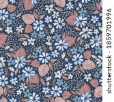 floral seamless pattern in navy ... | Shutterstock . vector #1859701996