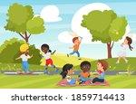 children play in summer park... | Shutterstock .eps vector #1859714413