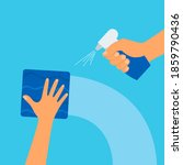napkin in hand. spraying... | Shutterstock .eps vector #1859790436