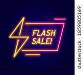 flash sale neon sign with shiny ... | Shutterstock .eps vector #1859805169