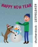 cartoon man and dog building a... | Shutterstock .eps vector #1859818459