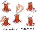 cup of turkish tea with sugar... | Shutterstock .eps vector #1859885056