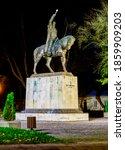 Small photo of ZAMOSC, POLAND - OCTOBER 30 2017: Statue of Jan Sariusz Zamoyski, founder of Zamosc, Poland near High School. He was Polish nobleman, magnate, and 1st ordynat of Zamosc.