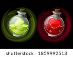 set of potions in glass round... | Shutterstock .eps vector #1859992513