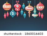 christmas baubles. cute... | Shutterstock .eps vector #1860016603