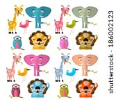 animals illustration set  ... | Shutterstock . vector #186002123