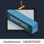 isometric shipping container on ... | Shutterstock .eps vector #1860070453