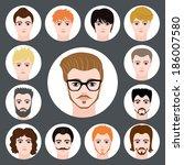 set of stylish guys in modern... | Shutterstock .eps vector #186007580