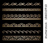vector set of wavy gold border... | Shutterstock .eps vector #186010910