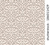Vintage beige seamless pattern, ornamental vector background in neutral color