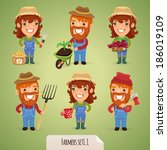farmers cartoon characters set1.... | Shutterstock .eps vector #186019109