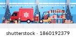 santa claus in mask forklift... | Shutterstock .eps vector #1860192379