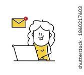 funny female stick figure...   Shutterstock .eps vector #1860217603