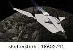 Mars Arrowhead Shuttle returning to planet from Phobos - stock photo
