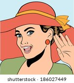 popart retro woman with sun hat ... | Shutterstock .eps vector #186027449