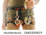 Sporty Man In Safety Harness...
