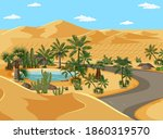 desert oasis with palms and... | Shutterstock .eps vector #1860319570