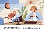concept of paternity leave... | Shutterstock .eps vector #1860326179