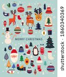 christmas decorative collection ... | Shutterstock .eps vector #1860340369