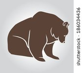 collection of grizzly bear... | Shutterstock .eps vector #186034436