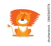vector poster with cartoon lion.... | Shutterstock .eps vector #1860369376