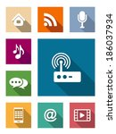 set of flat media and... | Shutterstock .eps vector #186037934