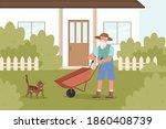 old man gardener works in...   Shutterstock .eps vector #1860408739