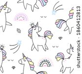 seamless pattern with unicorns... | Shutterstock .eps vector #1860412813