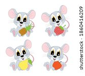 Cute Mouse Cartoon With Fruits  ...