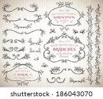 Set of floral vintage hand drawn vignettes