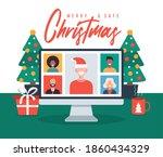christmas online greeting.... | Shutterstock .eps vector #1860434329