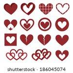 vector hearts set | Shutterstock .eps vector #186045074