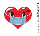 cute red heart in disposable... | Shutterstock .eps vector #1860466699