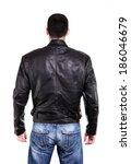 handsome man in leather jacket  ... | Shutterstock . vector #186046679