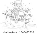 Cartoon Snowman In Hat And...