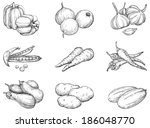 vegetables. set 1 of vegetables ... | Shutterstock . vector #186048770