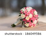 wedding bouquet of red white... | Shutterstock . vector #186049586