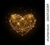 glitter gold heart on black... | Shutterstock .eps vector #1860518389