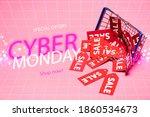 sale tags near shopping basket...   Shutterstock . vector #1860534673
