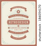 retro typographic design... | Shutterstock .eps vector #186054170
