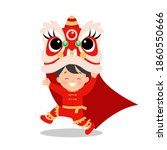 cute asian boy dancing lion... | Shutterstock .eps vector #1860550666