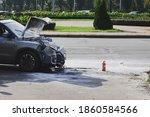 Silver Car After A Crash...