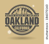 Stamp or label with text Oakland, California inside, vector illustration