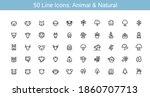 Animal And Natural Line Icon Set