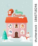 santa claus and gang of animal...   Shutterstock .eps vector #1860718246