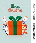 santa claus and gang of animal...   Shutterstock .eps vector #1860718249
