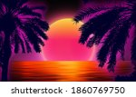 3d sunset on the beach. retro...   Shutterstock .eps vector #1860769750