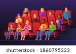 people in movie hall. kids and... | Shutterstock . vector #1860795223