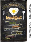 chalk breakfast menu. i love... | Shutterstock .eps vector #186085196