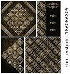 set of vintage wallpaper and... | Shutterstock . vector #186086309